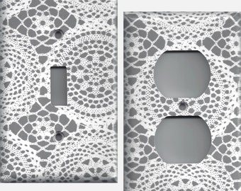 Grey/Gray and White Lace Doiles Light Switchplates and Wall Outlet Covers Home Decor Accents