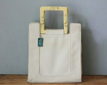Vintage MONDANI Nylon Fabric Satchel Handbag/ Cream Ivory Fabric Lunch Tote Mini Shopper Purse