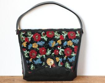 Vintage Black Leather and Floral Tapestry Slim Handbag/ 1950s 1960s Embroidered Needlepoint Flower Satchel Purse Pocketbook