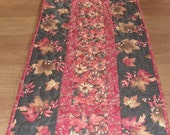 Fall Leaves Long Quilted Table Runner Rust Orange Brown Gold Quilt Autumn Quilted Table Topper