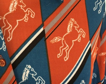 Vintage 70's Button Top with Galloping Horses in Red and Blue with Sash Scarf