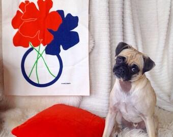 Vintage marushka canvas print art modern poppies navy blue orange red michigan fiber art scandinavian wall hanging fabric