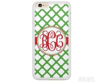 iPhone 6s Case, iPhone 6s Plus Case, iPhone 5s Case, iPhone 5c Case, Green Trellis and Red, Monogram Gift, Christmas Gift (406)
