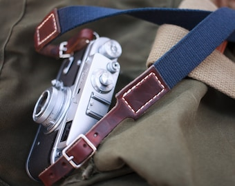 Rich brown leather camera strap: Navy cotton and Horween Chromexcel