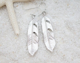 Textured Tapered Feather, Nature Earrings, Simple Only one available Minimalist Hippie Gift for her, Earrings