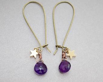 Amethyst Briolettes & Star Charm Earrings, Vintage Rosegold Wire Kidney, February, Celestial Gypsy Moonchild Gift For Her, Earrings