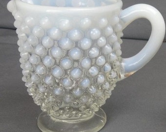 Fenton French Opalescent Hobnail Footed Creamer