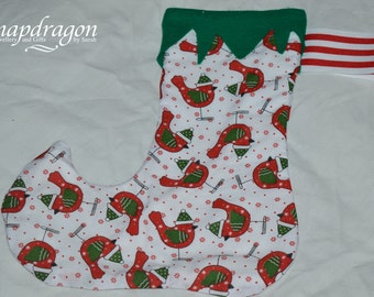 Christmas stocking with festive bird print, fully lined