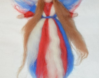 Wool goddess/fairy in patriotic red white and blue