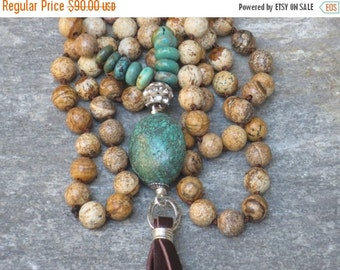ON SALE Boho Chic Genuine Turquoise and Picture Jasper Bead Leather Tassel Necklace