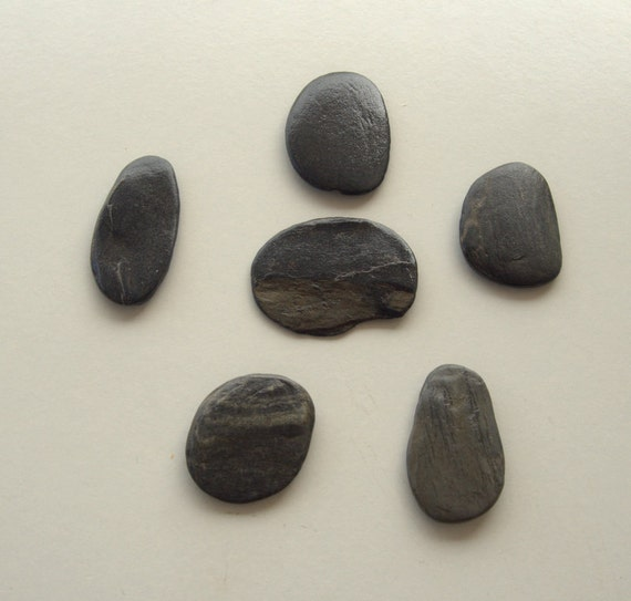 6 large flat anthracite pebbles beach stones craft for Where to buy flat rocks for crafts