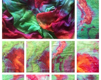 Ice Dyed Cotton Scrim for Mixed Media, Nunofelting, and Scarf Making