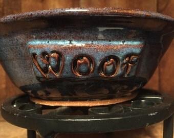 """Blue """"Woof"""" dog food bowl"""