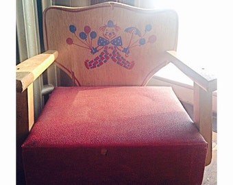 Antique Irmi Wooden Booster Seat -Clown Art Theme- 1950's/1960's