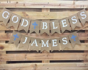 First Communion Banner, Baptism Banner, Christening Decorations, God Bless Burlap Banner, Confirmation Bunting Garland, Photo Prop