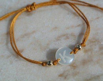 Personalized Mini Initial Adjustable String Bracelet, Mother of Pearl, gold spacers