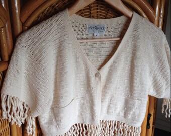 Vintage crochet fringed cropped cardigan