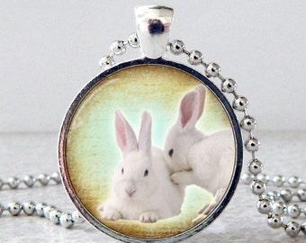 White Bunnies Glass Pendant Necklace, White Rabbits Pendant, Rabbit Jewelry, White Rabbits Necklace, Christmas Present, Stocking Stuffer