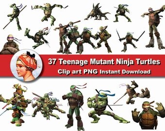 35x TMNT Teenage Mutant Ninja Turtles clipart png - printable Digital Clipart Graphic Instant Download