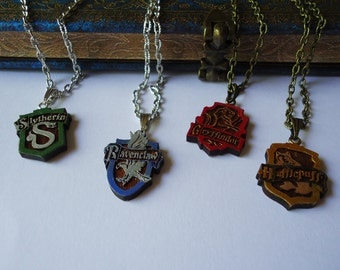 Handmade Wood Harry Potter Houses Necklace - Hogwarts Gift Potterhead