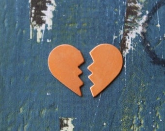 Copper Broken Heart Stamping Blank - Metal Stamping Blank - 26mm x 16mm - 24 Gauge - Pack of 2 - Jewelry Stamping Blank - SGMSC-2093