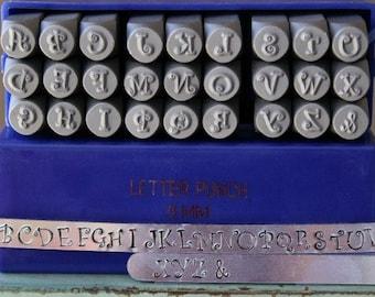 6mm Curlz Font Alphabet Letter Uppercase Metal Stamp Set - Metal Stamp Set- Metal Stamping And Jewelry Work - SGE-14U