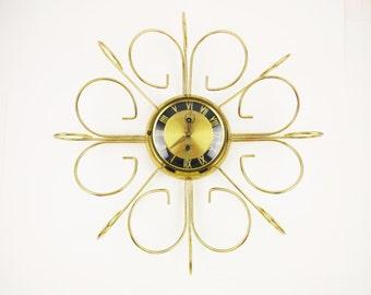 Retro Sunburst Wall Clock - 'J&M Eight Day Jeweled' - Working With Key - 1960s - Starburst - Sunburst - Curled Brass Arms - Roman Numerals