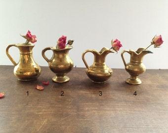 Vintage brass vase Solid brass pitcher Miniature Decorative Brass pitcher Brass vase