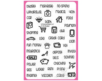 In The Budget Planner Stamp Set - BUJO Stamps - Bullet Journal Stamps - Clear Stamps - Finance Stamps - Savings Money - Pink & Main - 344662