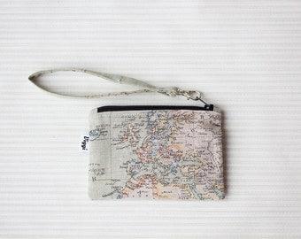 Wristlet clutch purse, coin pouch wrist strap, world map