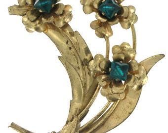 Vintage Harry Iskin Gold Vermeil Flower Pin Brooch Jewelry 1940s
