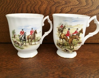 BLUEBIRD CHINA MUGS - Fox Hunt China Mugs - Horses Dogs Fox - Made in Canada
