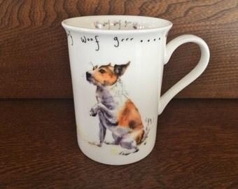 WOOF WOOF GRRR Dog Mug - Fine Porcelain Mug - Puppy Dog & Bees - Shake a Paw