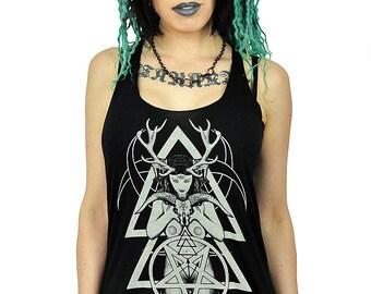 Horned Goddess Goat Skull Triple Crescent Magical Alchemy Tank Top Female