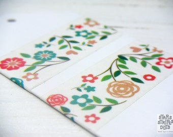 WASHI TAPE garden flowers 20 mm x 5 m