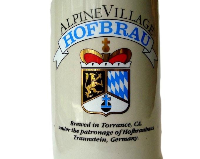 Vintage Barware Stoneware Mug Hofbrau Beer Stein Alpine Village - German Made Mug- Drinkware