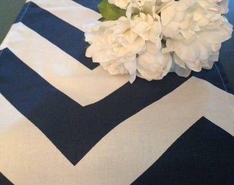 navy table runner. navy chevron