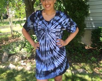 Tye dye cotton dress, bathing suit cover up, tie dye beach wear for teens or women, black and wedgewood blue tie dye dress