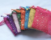 100 2x3 Organza bags, printed with stars & dots favor bags, jewelry supplie