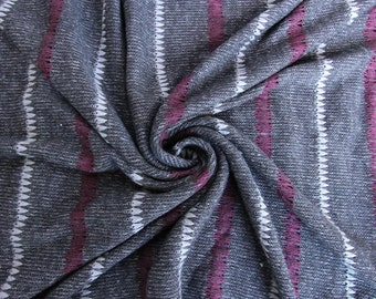 Three Color Striped Gray Sweater Knit Fabric - 1 Yard Style 6495