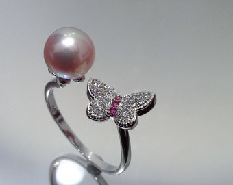 Blest Jewellery- Pearl Ring - AAA 7-8MM Pink Color Freshwater Pearl Ring, Cubic Zirconia With 925 Silver