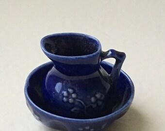 Dollhouse Miniature Porcelain Blue Pitcher and basin. (JL)