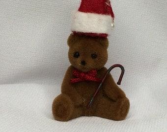 Miniature Flocked Brown Christmas Teddy Bear (PT)