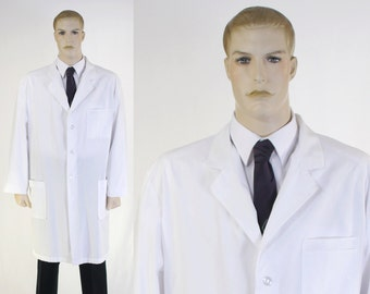 Adult Male Doctor's White Lab Coat -  Size 48 Chest - Doctor Costume - Medical Costume - Laboratory Coat - Mr.Barco Lab Coat - Doctor Love