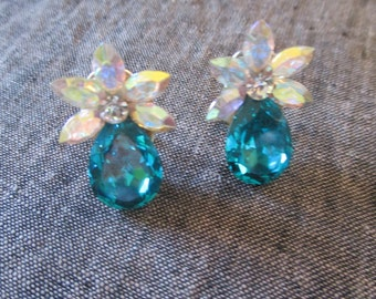 Earrings, pierced sea blue crystal and glass