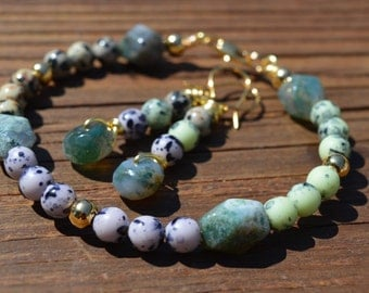 Ocean Jasper, Dalmatian Jasper, Gold and Czech Glass Beaded Bracelet and Earrings Set