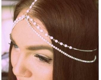Silver/Gold Pearl Crystal Headchain Grecian Bridal Headpiece Headband Rosary Chain