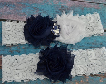 Toronto Maple Leafs Wedding Garter Set, Maple Leafs Garters Bridal Garter Set, White Lace Wedding Garter