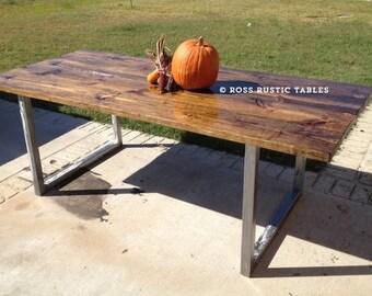 U Style Leg Metal & Wood Table
