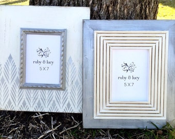set of two 5x7 distressed frames | metallic silver frame | modern frame set | wedding gift idea | wedding frames |gift for bride |wall decor